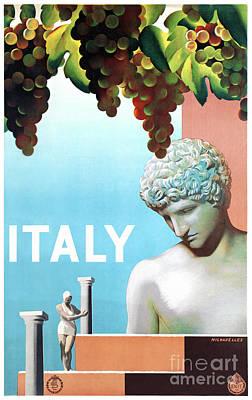 Restored Italy Vintage Travel Poster Art Print by Carsten Reisinger