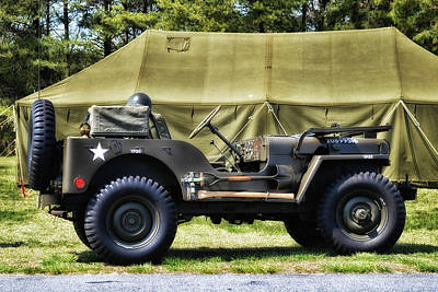 Photograph - Restored Willys Jeep And Tent At Fort Miles by Bill Swartwout Fine Art Photography
