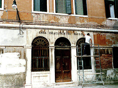 Photograph - Restoring Old Synagog, Casa Israelite, In The Venice Ghetto, Italy by Merton Allen