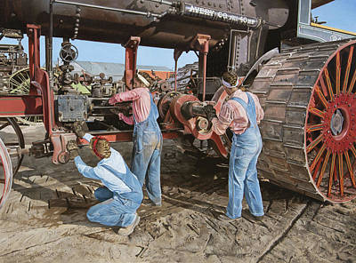 Steam Tractor Painting - Restoring The Avery by Lee Alban