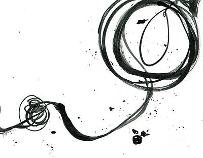 Signed By Artist Painting - Resurface - Revolving Life Collection - Modern Abstract Black Ink Artwork by Patricia Awapara