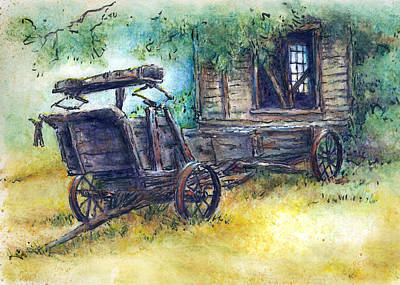 Old Shed Drawing - Retired At Last by Retta Stephenson