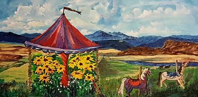 Retired Carousel Near Belt Montana      82 Original by Cheryl Nancy Ann Gordon