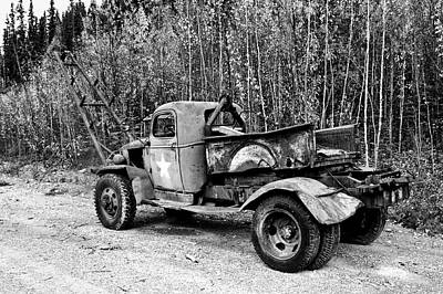 Photograph - Retired Military Truck 2 - Monochrome by Cathy Mahnke