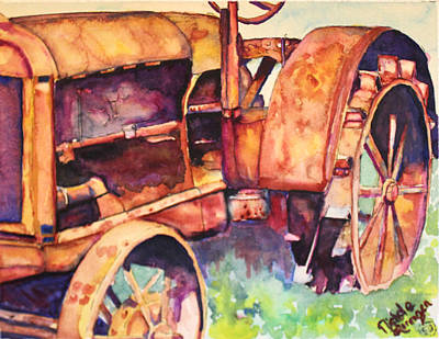 Steam Tractor Painting - Retired by Nichole Lorenzen