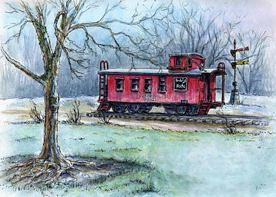 Painting - Retired Red Caboose by Retta Stephenson
