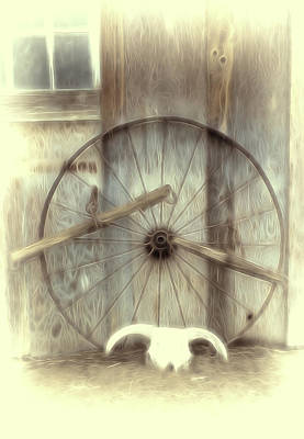 Mixed Media - Retired Wagon Wheel by Pamela Walton