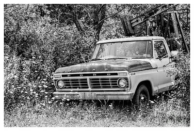 Retirement Ford Truck In Field Art Print by Randy Steele