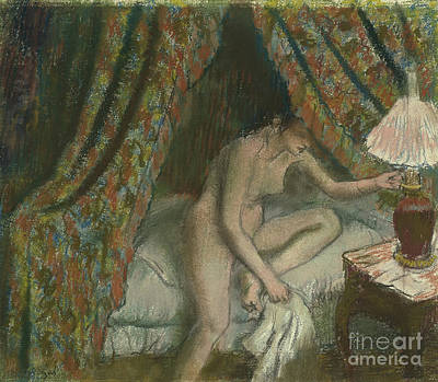 Bedside Drawing - Retiring by Edgar Degas