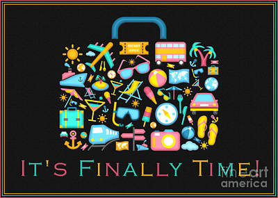 Digital Art - Retiring Travel Suitcase by JH Designs