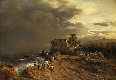 Andreas Achenbach Painting - Retreating Storm On The Italian Coast by Andreas Achenbach