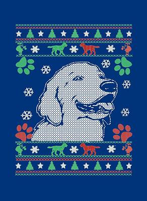 Retrievers Digital Art - Retriever - Christmas Sweater by Sophia