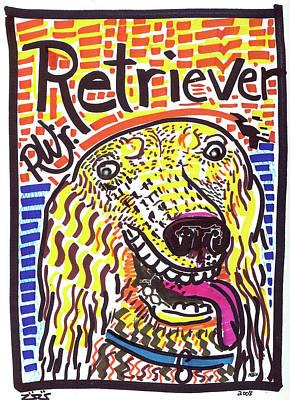Golden Retriever Pop Art Painting - Retriever by Robert Wolverton Jr