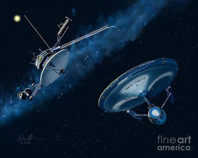 Enterprise Digital Art - Retrieving Voyager 2 by Wes Munn
