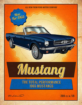 1965 Ford Mustang Painting - Retro 1965 Mustang Convertible Ad by Rudy Edwards
