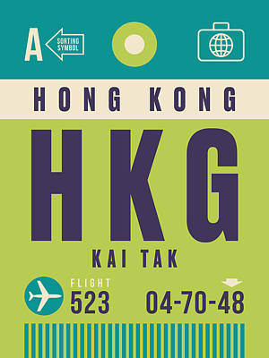 Hong Kong Wall Art - Digital Art - Retro Airline Luggage Tag - Hkg Hong Kong Kai Tak by Ivan Krpan