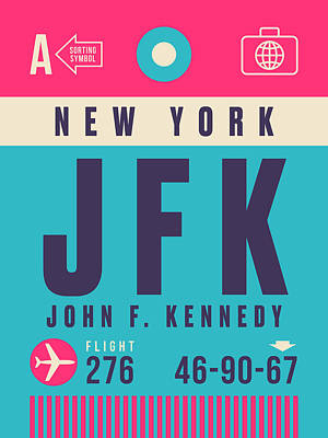 Jfk Wall Art - Digital Art - Retro Airline Luggage Tag - Jfk New York John F. Kennedy by Ivan Krpan