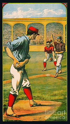 Photograph - Retro Baseball Game Ad 1885 A Crop by Padre Art