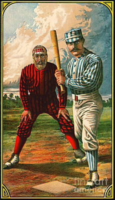 Photograph - Retro Baseball Game Ad 1885 B Crop by Padre Art
