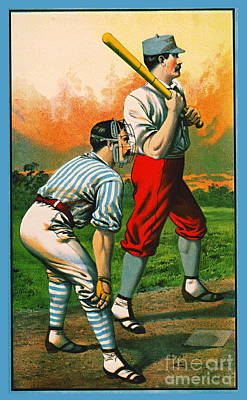 Photograph - Retro Baseball Game Ad 1885 C Crop by Padre Art
