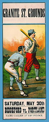 Photograph - Retro Baseball Game Ad 1885 C by Padre Art