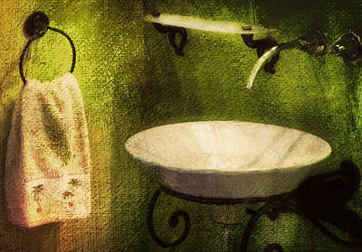 Mixed Media - Retro Bathroom Grunge by Georgiana Romanovna