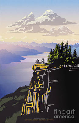 Digital Art - Retro Beautiful Bc Travel Poster by Sassan Filsoof