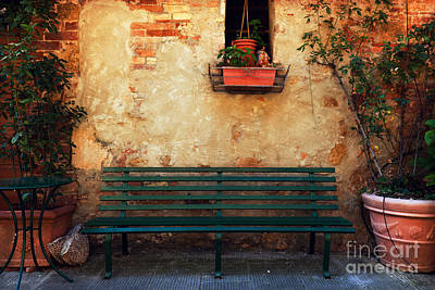 Wooden Photograph - Retro Bench Outside Old Italian House In A Small Town Of Pienza, Italy. Vintage by Michal Bednarek