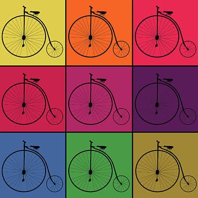 Retro Bicycle Pop Art Collage Print by Art Spectrum