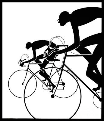Photograph - Retro Bicycle Silhouettes 2 1986 by Padre Art