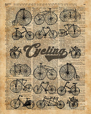 Tapestries - Textiles Mixed Media - Retro Bicycles Vintage Illustration Dictionary Art by Jacob Kuch