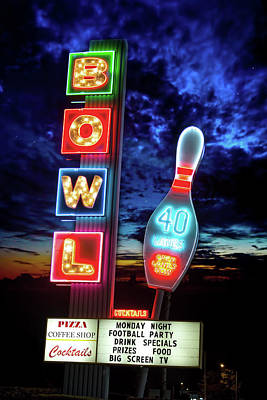 Photograph - Retro Bowling Alley Sign by Mark Andrew Thomas