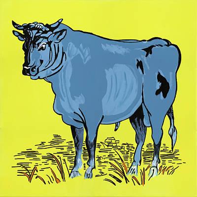 Retro Bull Art Print by Sonja Olson