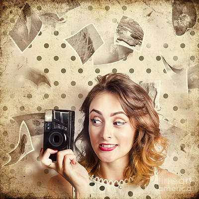 Polkadots Photograph - Retro Camera Girl With Instant Idea by Jorgo Photography - Wall Art Gallery