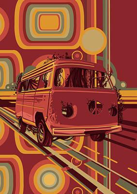 Digital Art - Retro Camper Van 70s by Bekim Art