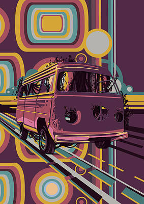 Digital Art - Retro Camper Van 70s Purple by Bekim Art