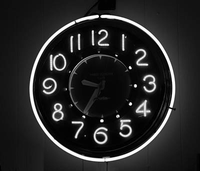 Photograph - Retro Clock Bw by Mary Bedy
