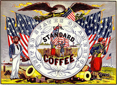 Photograph - Retro Coffee Label 1862 by Padre Art
