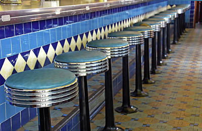 Old Diner Bar Stools Photograph - Retro Diner Stools by Maria Dryfhout