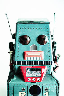 Retro Eighties Blue Robot Art Print