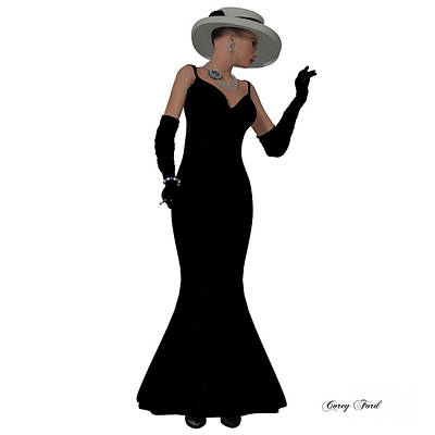 Evening Dress Digital Art - Retro Fashion Dress by Corey Ford