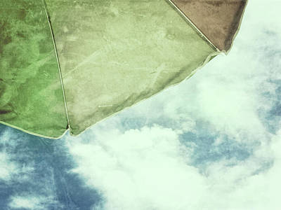 Photograph - Retro Feel Beach Umbrella Blue Sky by Marianne Campolongo
