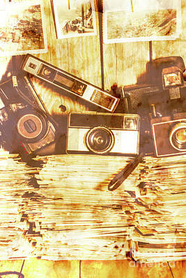 Retro Film Cameras Art Print