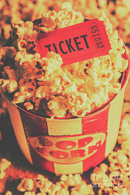 Food And Beverage Royalty-Free and Rights-Managed Images - Retro film stub and movie popcorn by Jorgo Photography - Wall Art Gallery