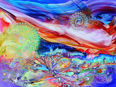 Sphere Painting - Retro-futuristic Garden/warm Wind by Susan Card