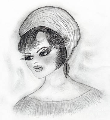 Drawing - Retro Girl In Hat by Sonya Chalmers