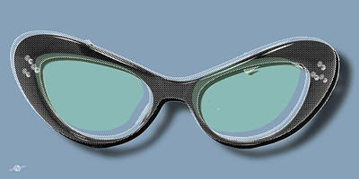 Painting - Retro Glasses Funky Pop Blue Teal by Tony Rubino