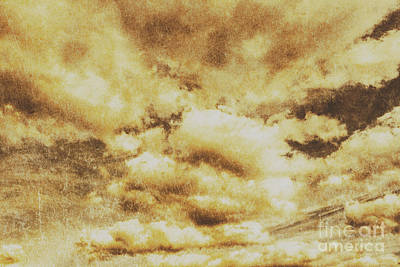 Retro Grunge Cloudy Sky Background Art Print