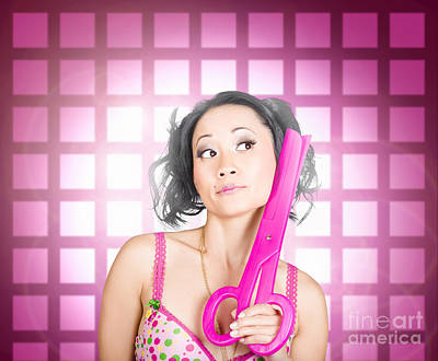 Retro Hairdresser Holding Big Pair Of Scissors Art Print by Jorgo Photography - Wall Art Gallery
