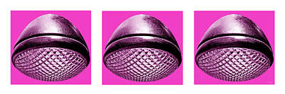 Photograph - Retro Hot Pink Headlight Trio by Tony Grider